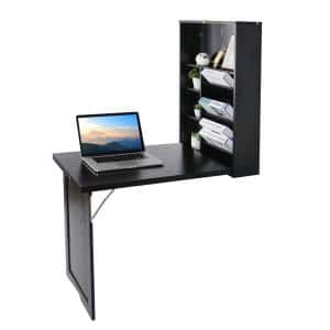 24 in. Black Retangular Wood Computer Desk with 2-Adjustable Shelves