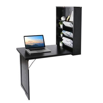 24 in. Black Retangular Wood Computer Desk with 2 Adjustable Shelves