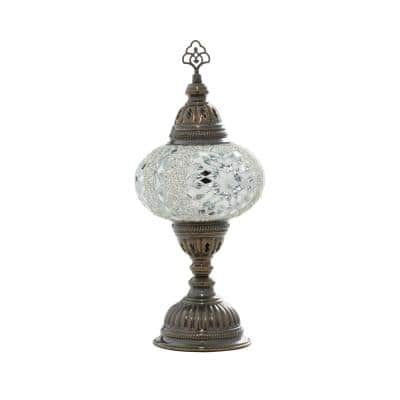 14.70 in. Black Glass Bohemian Accent Lamp