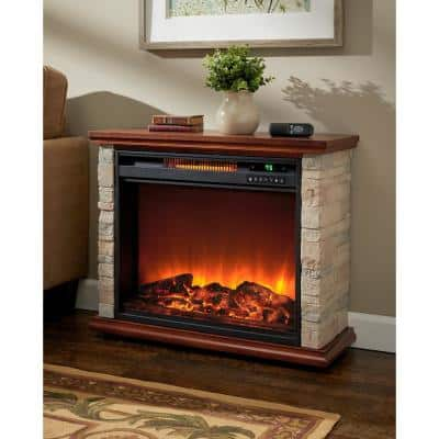 31 in. 1500-Watt Freestanding Electric Baseboard Heater Fireplace with Remote Control and Walnut Mantel