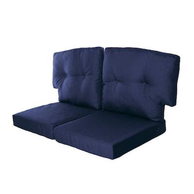 Charlottetown 23.5 in. x 26.5 in. 4-Piece Outdoor Loveseat Cushion Set in Navy