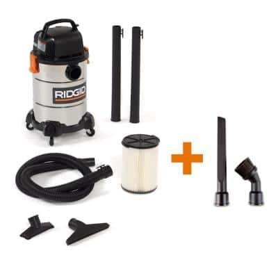 6 Gal. 4.25-Peak HP Stainless Steel Wet/Dry Shop Vacuum with Filter, Hose and Six Accessories