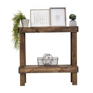 38 in. Dark Walnut Standard Rectangle Wood Console Table with Storage