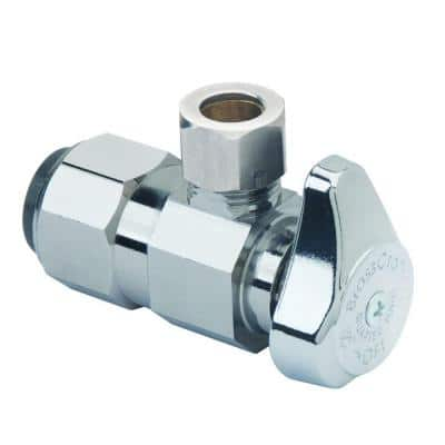 1/2 in. Push Connect Inlet x 3/8 in. Compression Outlet 1/4-Turn Angle Valve