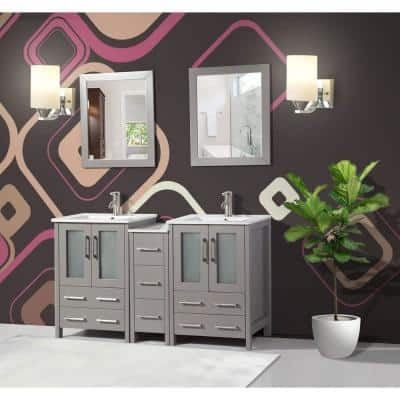 Brescia 60 in. W x 18 in. D x 36 in. H Bath Vanity in Grey with Vanity Top in White with White Basin and Mirror
