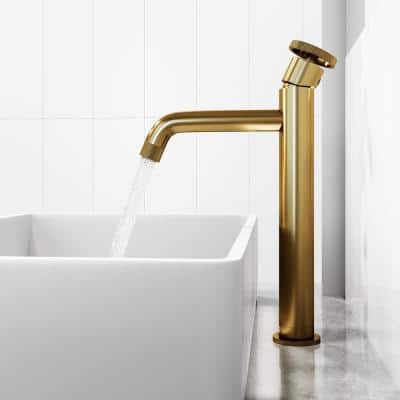 Cass Single Handle Single Hole Vessel Sink Faucet in Matte Brushed Gold
