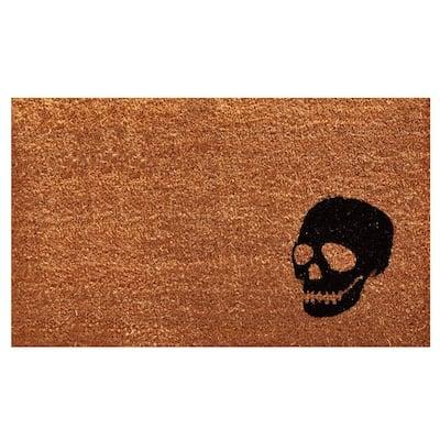 Black Skull 24 in. x 36 in. Coir Door Mat
