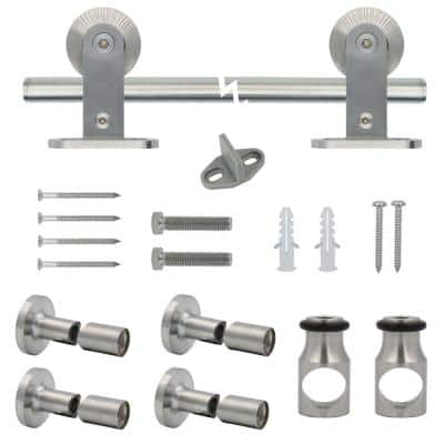72 in. Stainless Steel Top Mount Sliding Barn Door Track and Hardware Kit