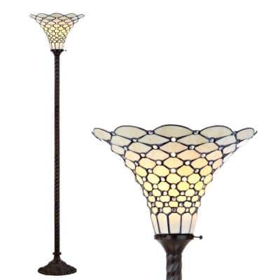 JONATHAN Y White Tiffany-Style 70 in. Bronze Torchiere Floor Lamp