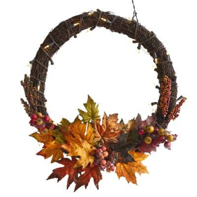 21 in. Maple Leaf and Berries Artificial Wreath with 50 Warm White LED Lights