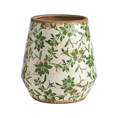 10 in. Tuscan Ceramic Green Scroll Planter