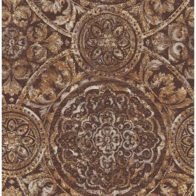 Ibiza Metallic Rust, Gold, and Dark Chocolate Medallion Paper Strippable Roll (Covers 56.05 sq. ft.)