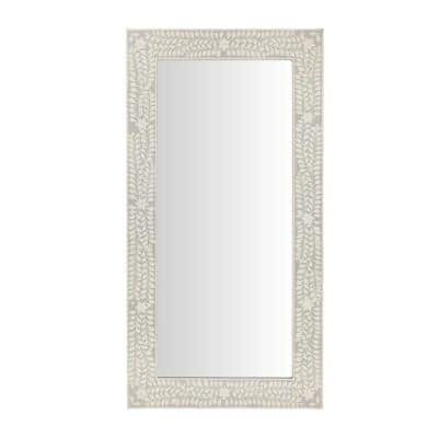 Oversized Dark Grey Wood Frame Art Deco Floor Mirror with Faux Bone Inlay (62 in. H x 32 in. W)