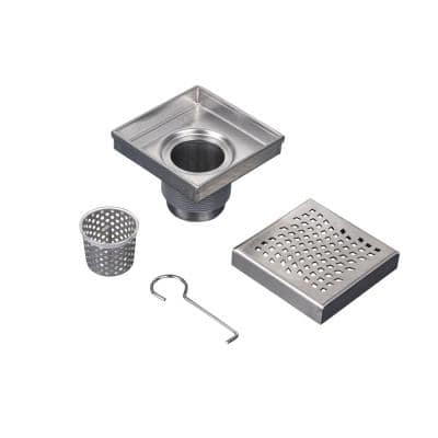Designline 4 in. x 4 in. Stainless Steel Square Shower Drain with Wave Pattern Drain Cover