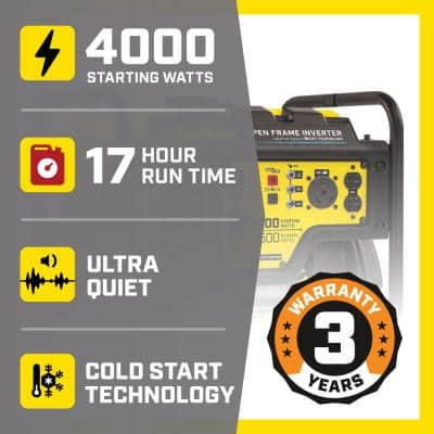DH 4000-Watt Gasoline Powered Recoil Start Open Frame Inverter Generator with 224 cc Engine and Quiet Technology