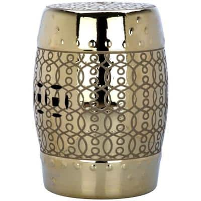 Lantana Plated Gold Ceramic Garden Stool