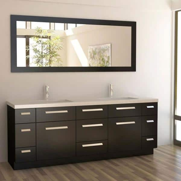 Design Element Moscony 84 In W X 22 In D Vanity In Espresso With Quartz Vanity Top And Mirror In Espresso J84 Ds The Home Depot