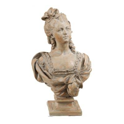 25.5 in. Henrietta Bust Statue White Wash