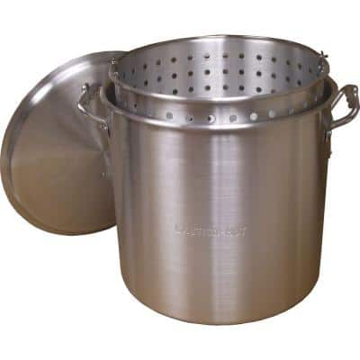 160 qt. Aluminum Stock Pot in Silver with Lid