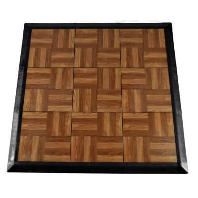 Max Tile 40.75 in. x 40.75 in. x 5/8 in. Dark Oak Interlocking Vinyl Tile Portable Tap Dance Floor (9 sq. ft. / case)