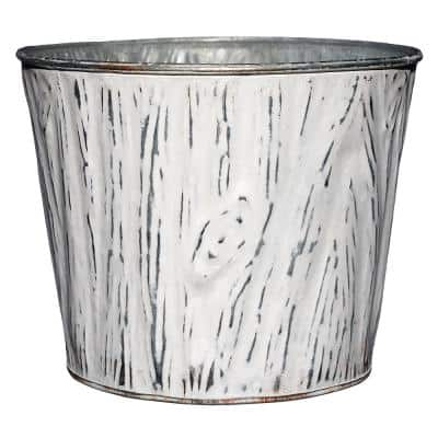 8 in. White Wood Grain Tin Planter