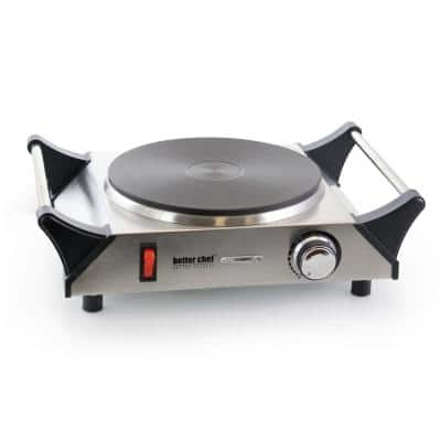 Portable Single Burner Stainless Steel 8 in. Solid Element Electric Hot Plate