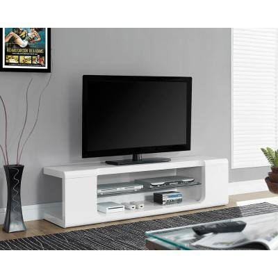 59 in. Gloss White Particle Board TV Stand Fits TVs Up to 58 in.