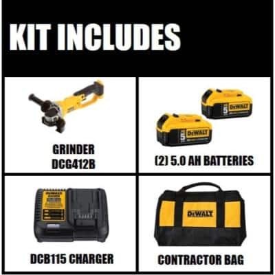 20-Volt MAX Cordless 4-1/2 in. to 5 in. Grinder, (2) 20-Volt 5.0Ah Batteries & Charger
