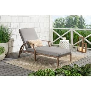 Geneva Brown Wicker Outdoor Patio Chaise Lounge with CushionGuard Stone Gray Cushions
