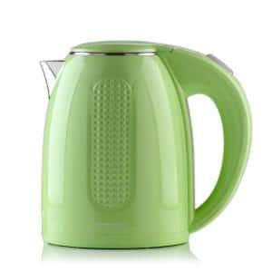 7-Cup Green Stainless Steel BPA-Free Electric Kettle with Auto Shut-Off and Boil-Dry Protection