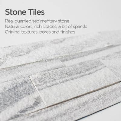 12-Sheets Gray Sand 24 in. x 6 in. Peel, Stick Self-Adhesive Decorative 3D Stone Tile Backsplash [11.6 sq.ft./Pack]