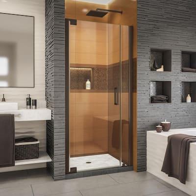 Elegance-LS 32-3/4 in. to 34-3/4 in. W x 72 in. H Frameless Pivot Shower Door in Oil Rubbed Bronze