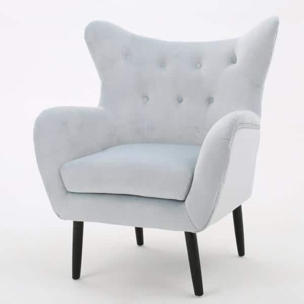 Noble House Seigfried Light Grey New Velvet Tufted Arm Chair   The Home Depot
