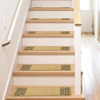 Stratford Geo Block Black 9 in. x 26 in. Stair Tread Cover