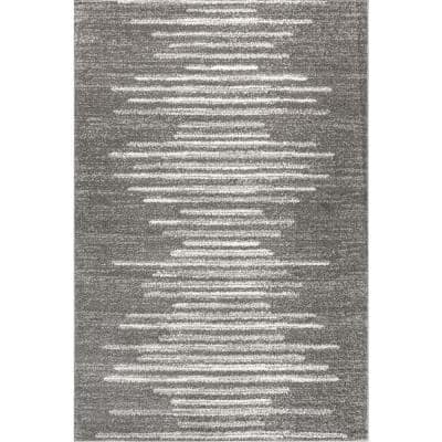 Aya Berber Stripe Geometric Gray/Cream 3 ft. x 5 ft. Area Rug