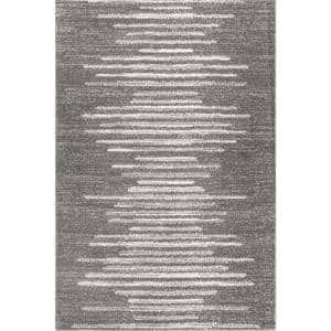 Aya Berber Stripe Geometric Gray/Cream 4 ft. x 6 ft. Area Rug