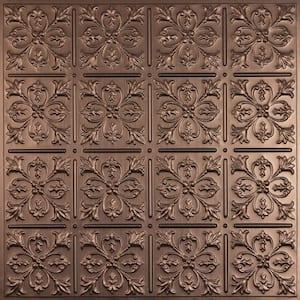 Fleur-de-lis Faux Bronze 2 ft. x 2 ft. Lay-in or Glue-up Ceiling Panel (Case of 6)
