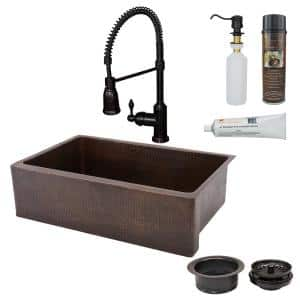 All-in-One Farmhouse Apron-Front Copper 33 in. 0-Hole Single Basin Kitchen Sink in Oil Rubbed Bronze