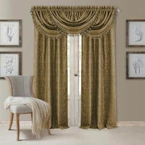 Antique Gold Damask Blackout Curtain - 52 in. W x 84 in. L