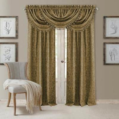Antique Gold Damask Blackout Curtain - 52 in. W x 95 in. L