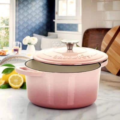 Artisan 5 qt. Round Cast Iron Nonstick Dutch Oven in Blush Pink with Lid