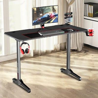 43 in. T-Shaped Rectangular Black Metal and Wood Gaming Desk