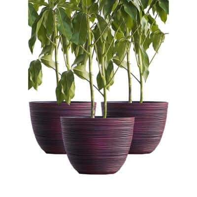 Xbrand 12 in. Tall Red Modern Nested Round Textured Indoor/Outdoor Plastic Pot Planter (Set of 3)