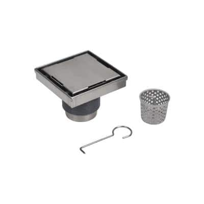 Designline 6 in. x 6 in. Stainless Steel Square Shower Drain with Tile-In Pattern Drain Cover