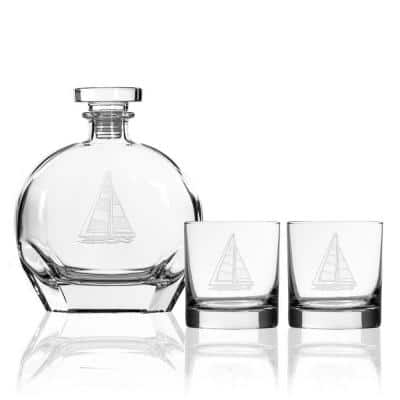 Sailboat 23 fl.oz. Glass Decanters with Whiskey Glasses (Set of 3)