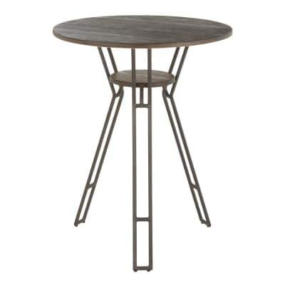 Folia Industrial Counter Height Dining Table in Antique Metal and Espresso Wood