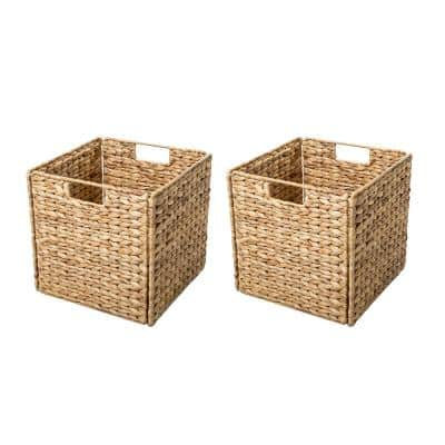 12 in. x 12 in. Foldable Hyacinth Storage Basket with Iron Wire Frame (2-Set)