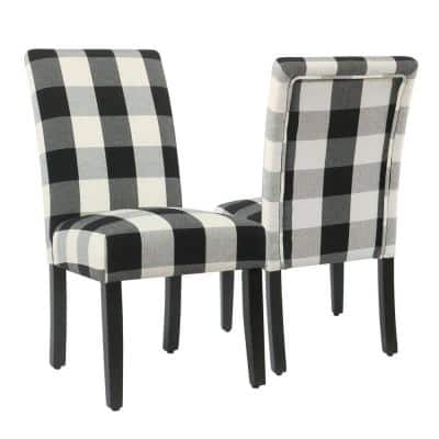 Parsons Buffalo Black Plaid Upholstered Dining Chair (Set of-2)