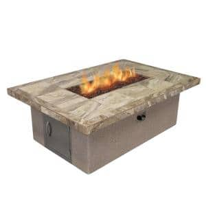 Stucco and Tile Rectangle Gas Fire Pit with Log Set and Lava Rocks