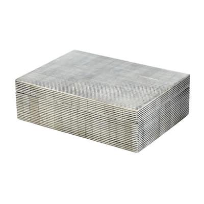 7 in. x 3 in. Pin Stripe Bone Decorative Box